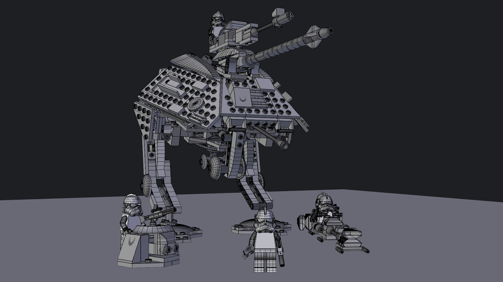 Lego Star Wars at-ap blender wireframe