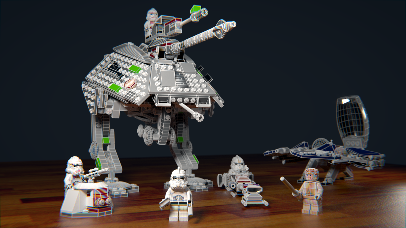Lego Star Wars Jedi Fighter blender cycles wireframe