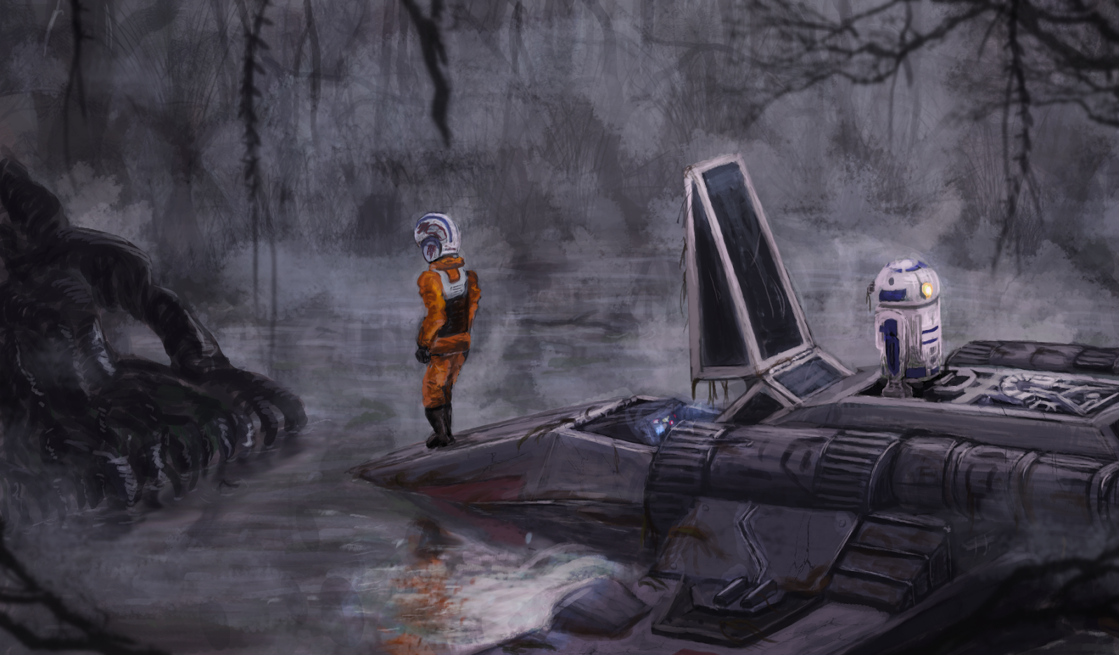Star Wars Dagobah Crash landing digital painting