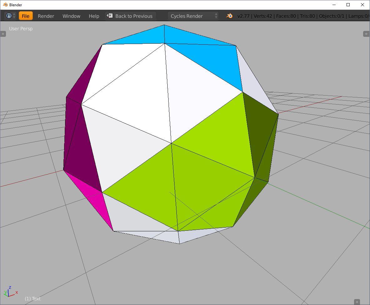Blender icosphere icosahedron subdivision 1