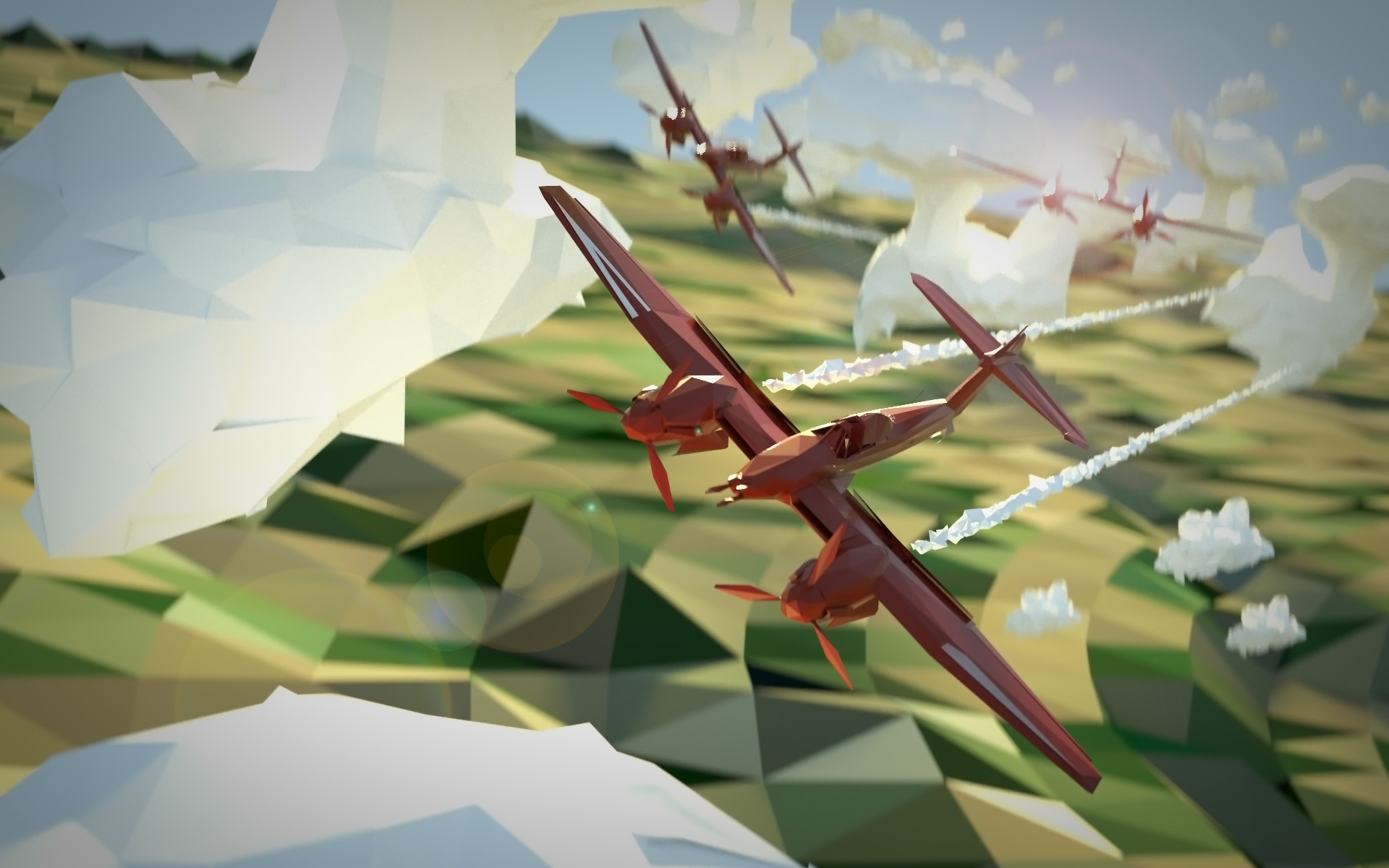 low poly banner art of a westland whirlwind made in Blender with cycles