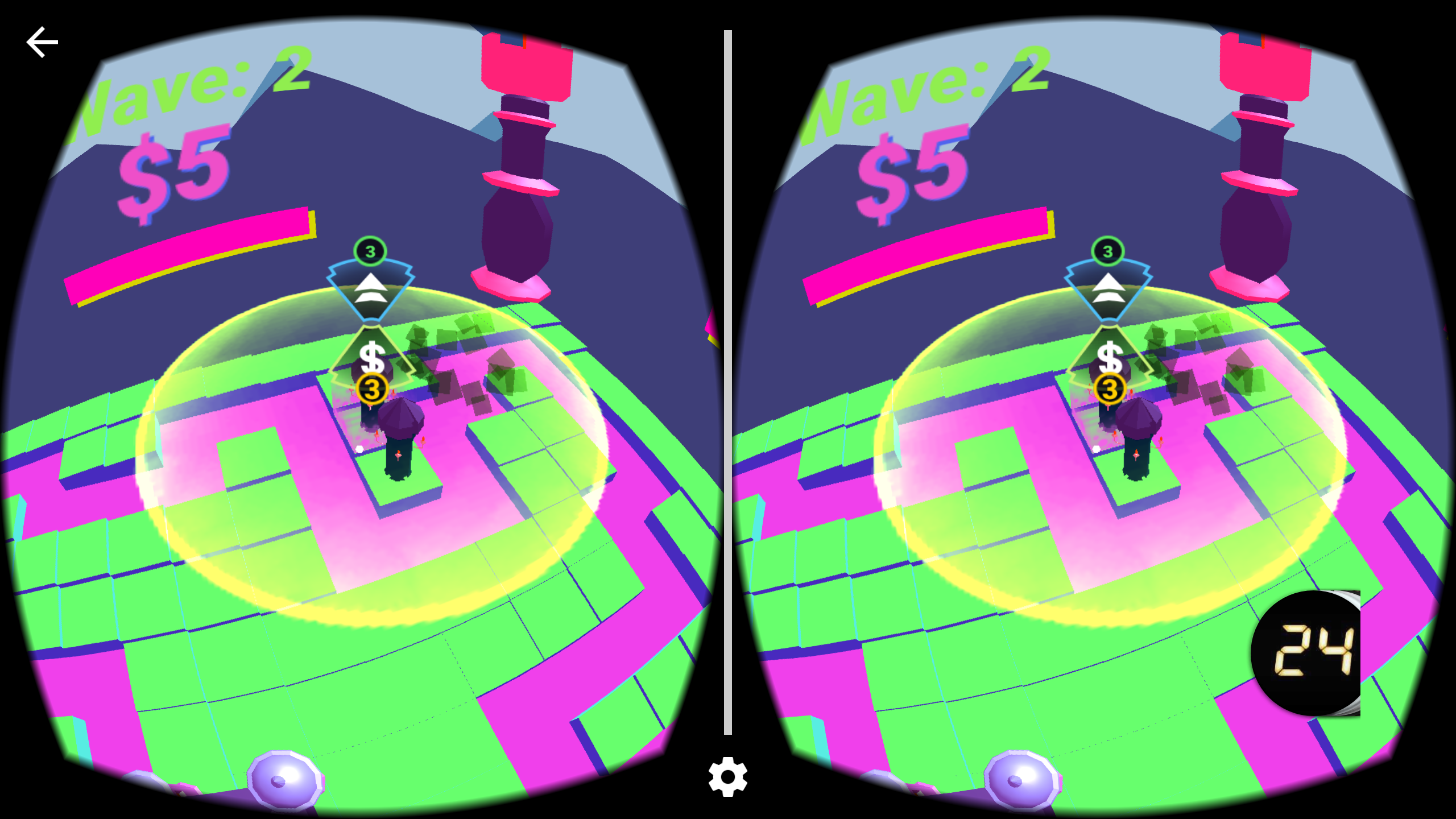 tower defense game using cardboard vr