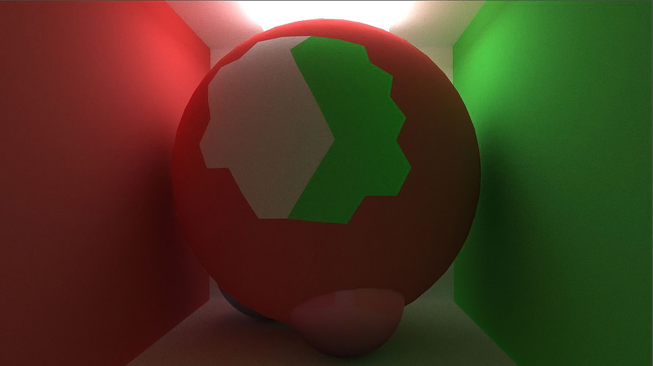 A mesh based sphere rendered with non mesh shapes